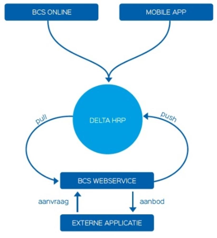 Schema BCS Online Mobile app en Delta HRP